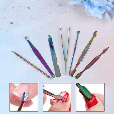 Stainless Steel Nail Art Tweezer Gem Picker Rainbow Tool Dead Skin Remover~GN