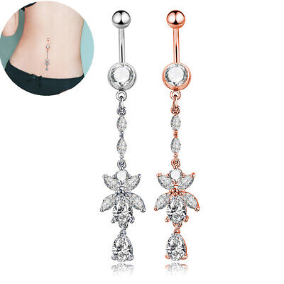Rhinestone Body Piercing Dangle Crystal Navel Belly Button Bar Barbell Rings~GN