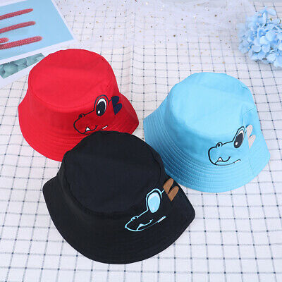 Dinosaur Baby Hat Cotton Double-sided Bucket Hat Baby Spring Autumn'Cap Kids ~GN