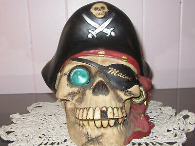 Pirate Skull (Maine) with Glass Ball Eye Piggy Bank with Rubber Stopper