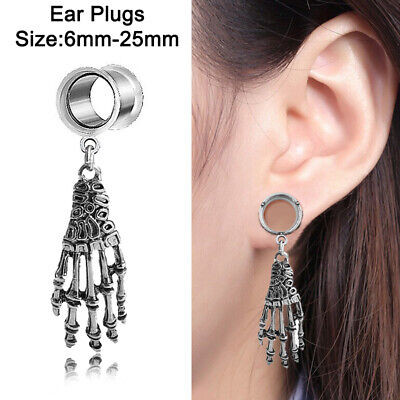 Skeleton Ghost Claw Ear Flesh Tunnels Plug Ear Gauges Saddle Double,Flare Gau~GN