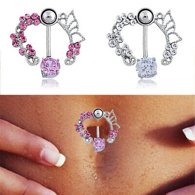 Rhinestone Flower Navel Rings Belly Button Bar Ring,Dangle Body Piercing Jewe~GN