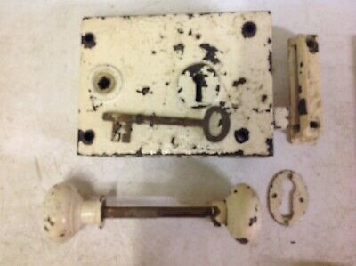 Antique Early Victorian Rim Door Lock With Key, Keep And Handles