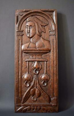 French 17th 18th Century Hand Carved Oak Wood Wall Panel