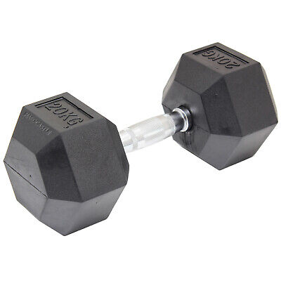 20Kg Rubber Dumbbell Hex Weight Bicep Workout Training Dumbell Gym Fit Sale #896