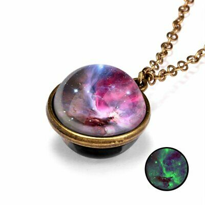 Glow in the Dark Retro Galaxy System Double Sided Glass Dome Pendant Necklace