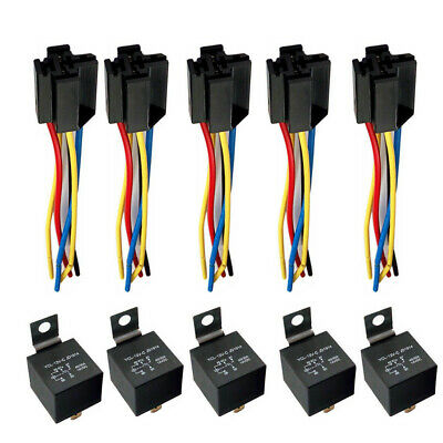 Car SPDT 5 SETS Automotive Relay + Wire Harness Socket Vehicle 12V 30/40 AMP