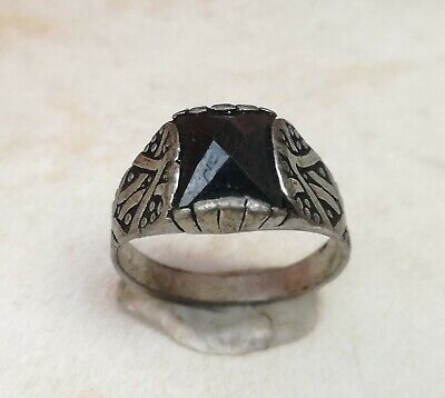 Rare Ancient Solid Ring Roman REAL Silver Stunning Artifact  vintage with stone