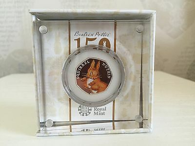 SQUIRREL NUTKIN SILVER PROOF 50p (MINTAGE 15,000) - MINT CONDITION - NEW - RARE