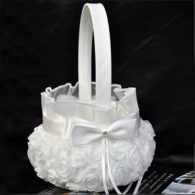 Romantic Bowknot Satin Wedding Ceremony Party Rose Flower Girl Basket Wh~GN