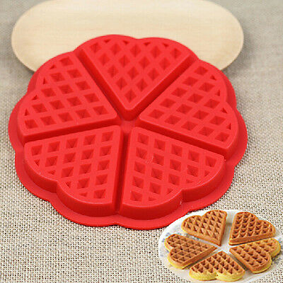 Silicone Waffles Pan Cake Baking Baked Muffin Cake`Chocolate Mold Mould Tray-Red