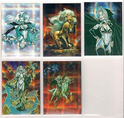 1996 LADY DEATH 3 III  Chromium FRACTAL Chase card Set (5) Very Rare