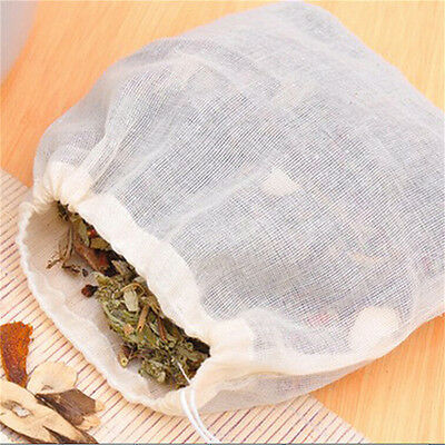 10x 8x10cm Large Cotton Muslin Drawstring Reusable Bags for Soap Herbs Tea~GN