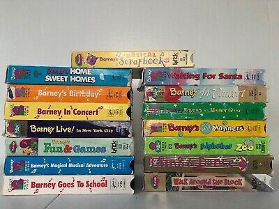 BARNEY LOT OF 15 VHS Tapes, 1 Music CD, 5 Books & 1 Coloring