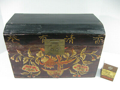 Early 20th c. Shandong China Painted Lacquered Wood CHEST, w Certificate