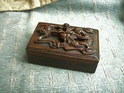 Old Antique Chinese Carved Hard Wood Dragon Trinket Box Wooden Fine Detail