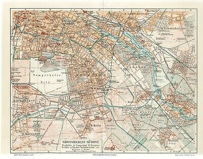 1898 GERMANY GREAT BERLIN SOUTHEAST PART CITY PLAN Antique Map