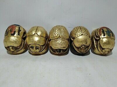 RARE ANTIQUE ANCIENT EGYPTIAN 5 Scarab Good Luck Hiroglyphic 1840-1770 Bc
