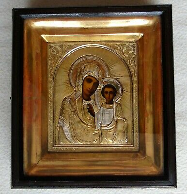 "Antique Russian icon ""Kazan Mother of God"". Silver 84. 19th Century."
