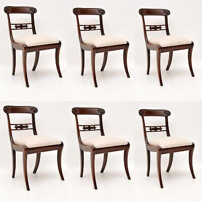 Set of 6 Antique Brass Inlaid Mahogany Regency Dining Chairs