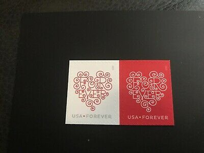 US Stamp #4955-4956a Love Forever Hearts forever horz pair set MNH 2015