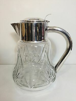 Vintage Quist Wurttemberg Germany Silver Plate Large Crystal Carafe Pitcher