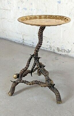 victorian antelope horn side table with brass tray top