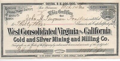1895 Mining Stock West Consolidated Virginia & California Gold Co Storey Co NV