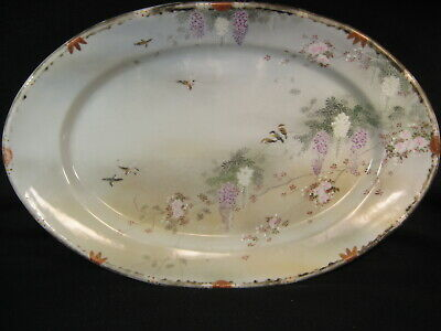 ANTIQUE JAPANESE (c 1920) SIGNED SATSUMA KUTANI CERAMIC IMARI LG SERVING PLATTER