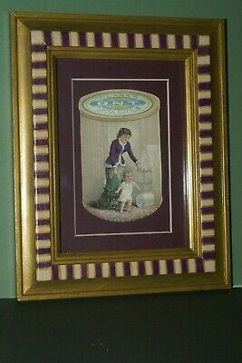 1800 Framed Antique Victorian Advertising Trade Card Clark's Mother & Child Play