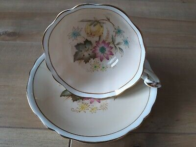 Paragon Teacup and Saucer Bone China Footed Flowers Beige Floral