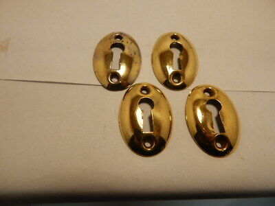Antique Door Key Hole Escutcheon Bright Brass Oval (KH 27)