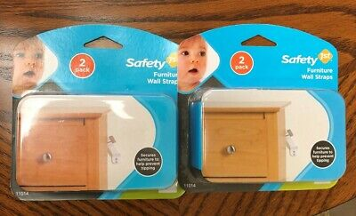 2 - 2 Packs BRAND NEW & SEALED Safety 1st Furniture Wall Straps - 4 Straps Total