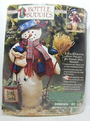 "Vintage Dimensions Bottle Buddy Craft Kit Mr. Chilly Snowman 17"" No Sew Wool NIP"