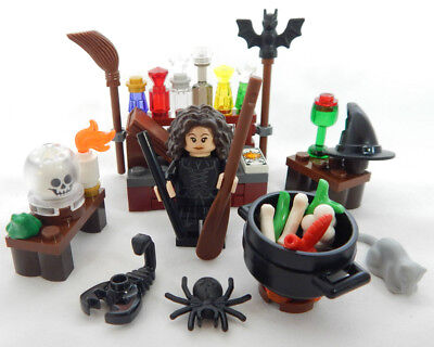 NEW LEGO WITCH MINIFIG figure minifigure halloween cauldron wand potions broom
