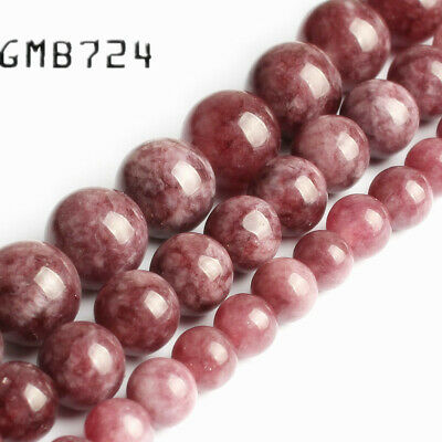 Natural Purple Lepidolite Stone Round Beads for Jewelry Making 15'' 6/8/10mm