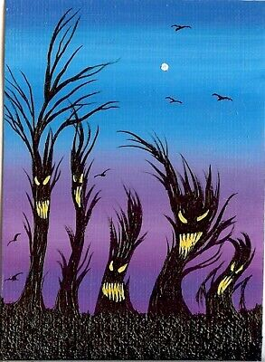 ACEO ORIGINAL Fun Animated Trees Spooky Forest Ravens Halloween Art ATC HYMES