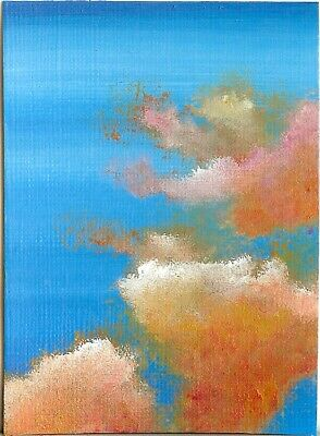 ACEO ORIGINAL Acrylic Cloudscape Miniature Sky Clouds Art ATC Painting HYMES