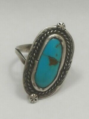 Vintage Old Pawn Sterling Silver Ring Native American Turquoise Size 7.25.
