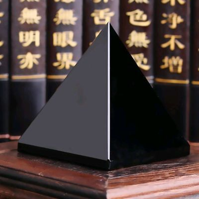 Natural Reiki Energy Charged Black Obsidian Pyramid Crystal Protective Healing A