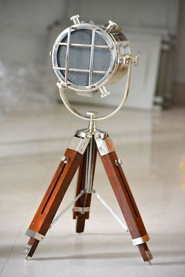 Marine Home Decor Floor Spot Light With Wooden Tripod Lighting Vintage Lamp