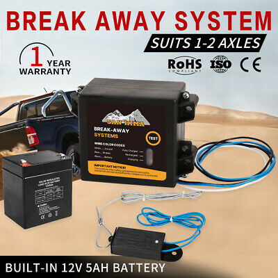 Break Away System For Trailer Caravan Towing Electric Breakaway Switch Battery