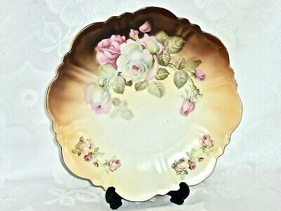 Gorgeous Antique Hand Painted Cabinet Plate 'Roses' Celesia C 1890- 1910'S