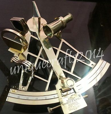 "Vintage Solid Brass Navigation Working Sextant 10"" Maritime Nautical Gift Item."