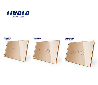 LIVOLO AU Standard 1/2/3Gang Turn On/Off Touch Switch Wall Light Switch Gold