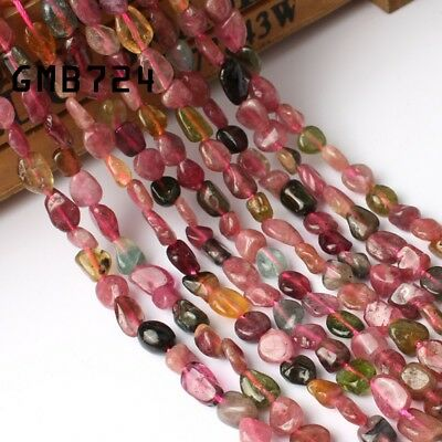 5-8mm Natural Gemstone Freeform Colorful  Tourmaline Beads for Jewelry Making