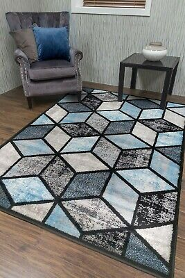 Cube Grey Teal Blue Large Small Rug Mat Bright Modern Design Cheap 3 Sizes