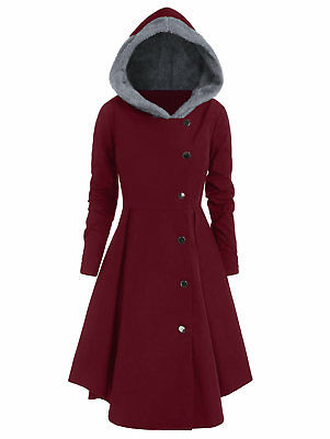 Plus Size  Contrast Coat Hooded Asymmetric Cosplay Casual Skirted Jacket