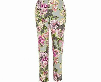 River Island Grey Floral Print Smart Cigarette Trousers Size 10 Worn Once - Mint