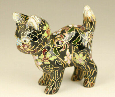 rare chinese old Cloisonne Hand Carved lovely cat statue noble gift decoration